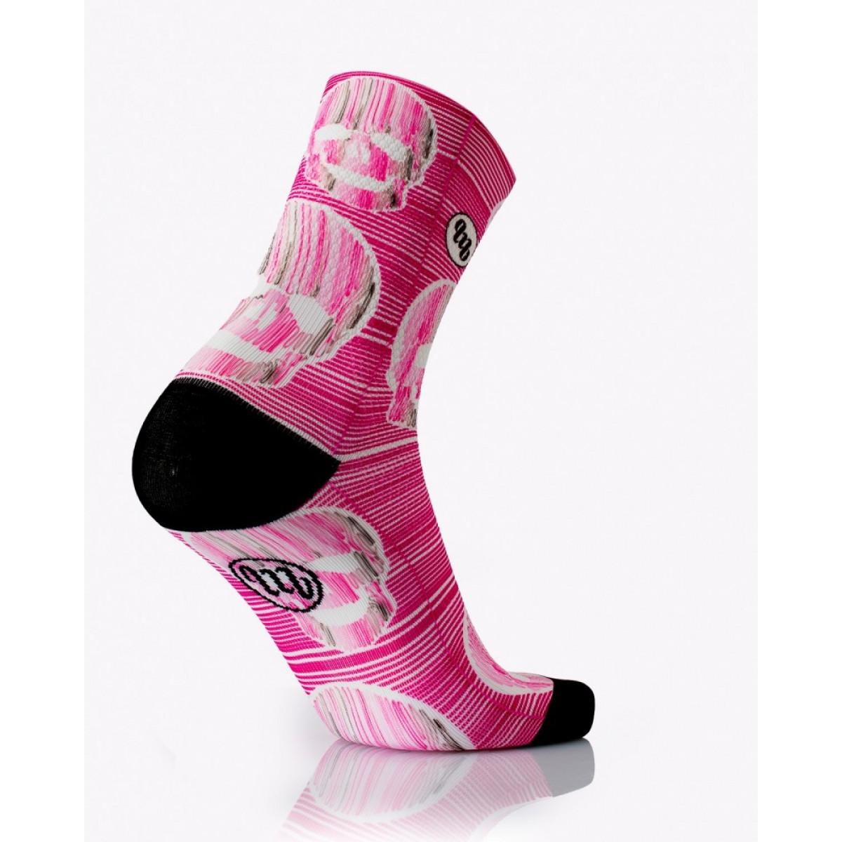 MB Wear Pink Skull dviratininko kojinės